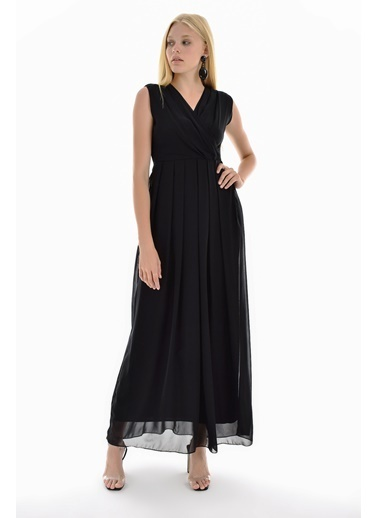 Sense İci Astarlı Uzun şifon Uzun Elbise Siyah